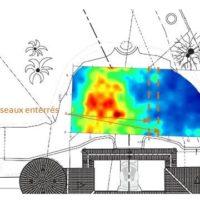 Schéma représentant la position des réseaux et l'affleurement du substratum